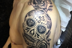 Sugar Skull and Roses. Inkhaus Tattoo.