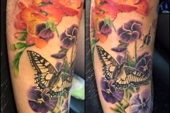 Colour Flowers and Butterfly. Inkhaus Tattoo.