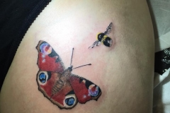 Butterfly and Bee. Inkhaus Tattoo.