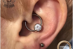 Daith Piercing with Industrial Strength CBR. Inkhaus Tattoo.