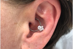 Daith with Industrial Strength CBR with captive 'Caeli' cluster. Inkhaus Tattoo.