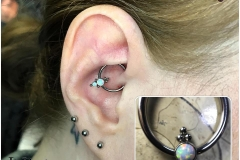 Daith with LeRoi CBR w/ Haute Couture Bijoux captive cluster. Inkhaus Tattoo.