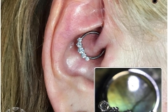 Daith with Industrial Strength CBR with captive 'Prium' cluster. Inkhaus Tattoo.