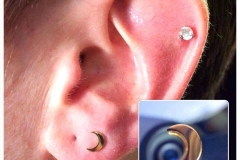 Second Ear Lobe with Gold Moon. Inkhaus Tattoo.