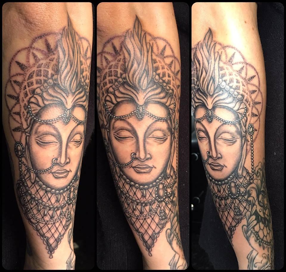 Greyscale Buddha. Inkhaus Tattoo.