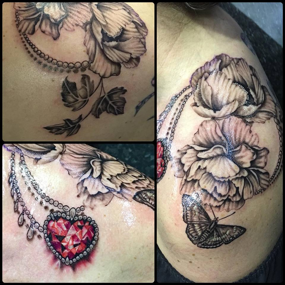 Shoulder Jewel and Flowers. Inkhaus Tattoo.