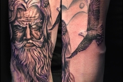Greyscale Zeus. Inkhaus Tattoo.
