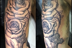 Greyscale Roses and Crucifix. Inkhaus Tattoo