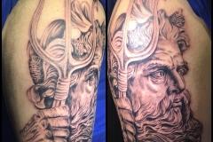 Greyscale Poseidon. Inkhaus Tattoo.