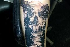 Greyscale Forest Scene. Inkhaus Tattoo.
