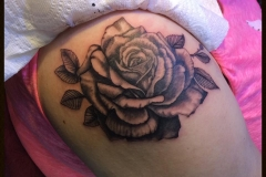 Greyscale Rose. Inkhaus Tattoo.
