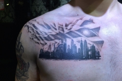 Greyscale London Skyline. Inkhaus Tattoo.