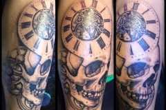 Greyscale Skull and Clock. Inkhaus Tattoo.