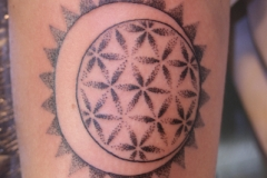 Dotwork Moon and Flower of Life. Inkhaus Tattoo.