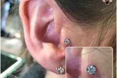 Tragus Piercing with Industrial Strength Swarovski. Inkhaus Tattoo.