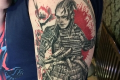 Healed Trash Polka Samurai. Inkhaus Tattoo.